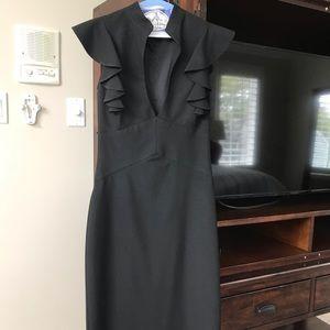 Black Halo Keyhole Black Ruffle Dress 0-2